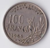 France, 100 Francs 1955, VF, WE930